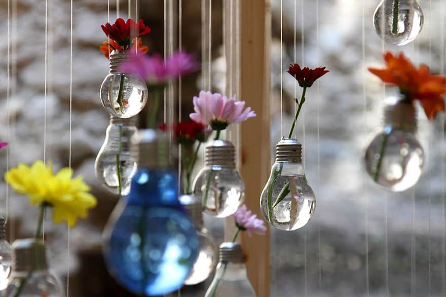 Hanging light bulb flower pots