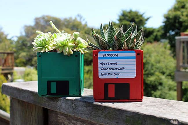 Homemade floppy disc succulent planters