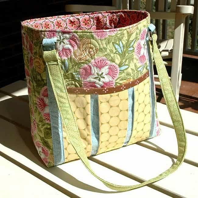 Homemade quilted ambrosia tote