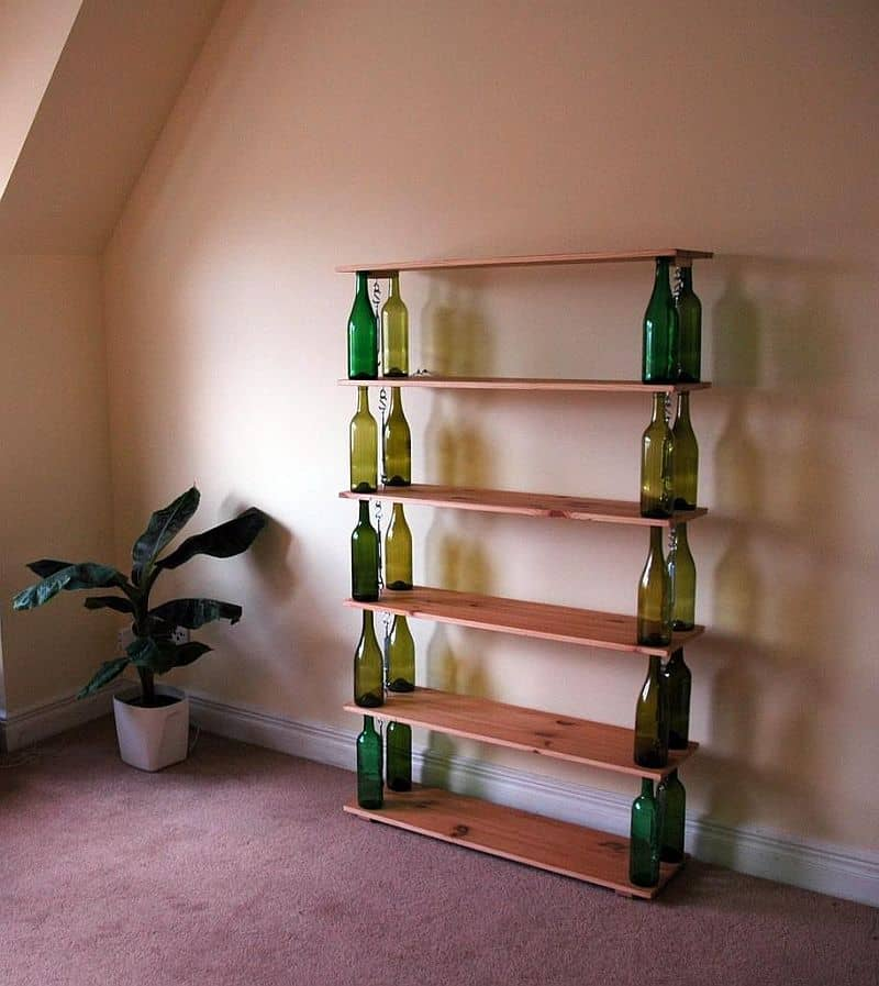 Homemade wine bottle book shelf