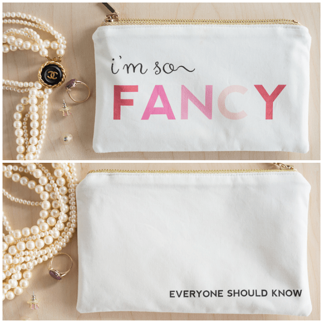 """I'm so fancy"" zipping pouch"