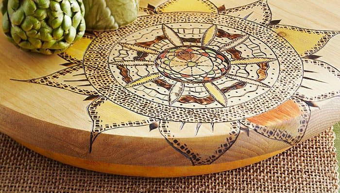 Intricate wood burning turn table