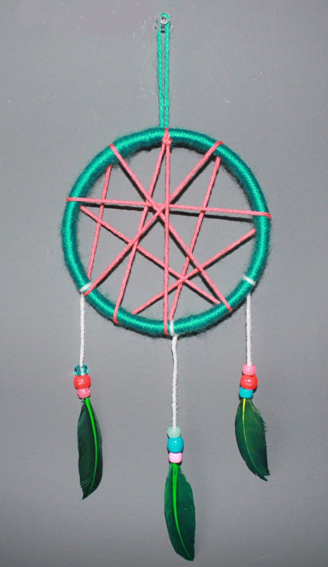 Kid-friendly bead and feather dream catcher