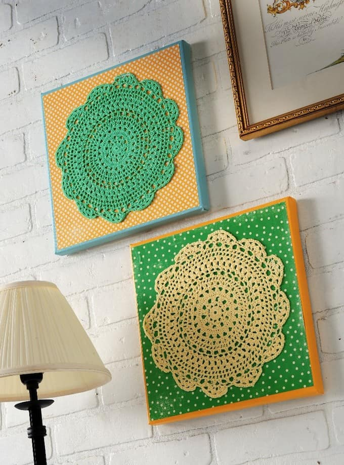 Lace doily wall art