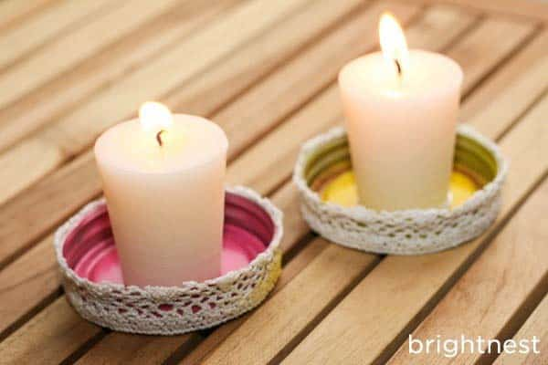 Lace lined jar lid candle holders