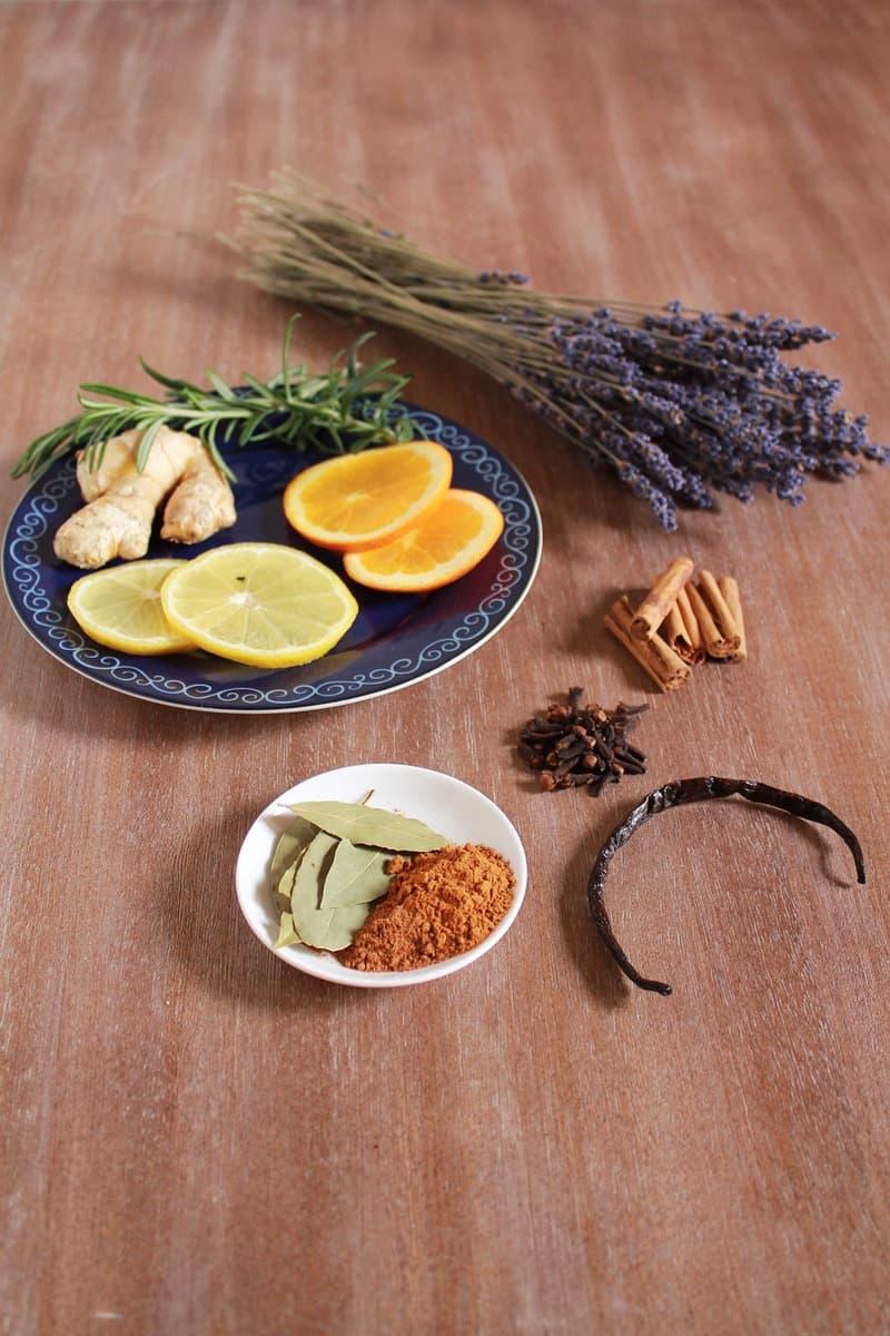 Lavender, nutmeg, clove, cardamom, and cinnamon potpourri