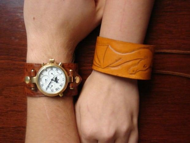 Leather cuff watch band