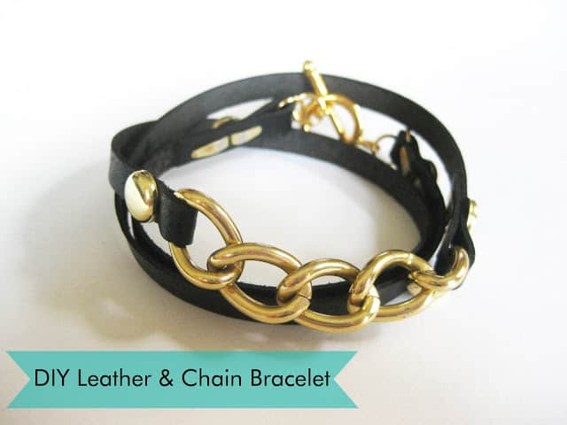Leather with chunky chains wrap bracelet
