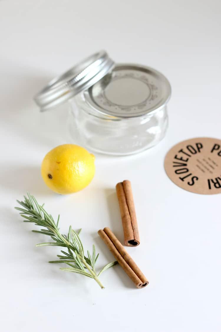 Lemon, cinnamon, and rosemary potpourri