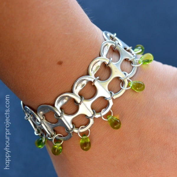 Linked pop tab bracelet with teardrop beads