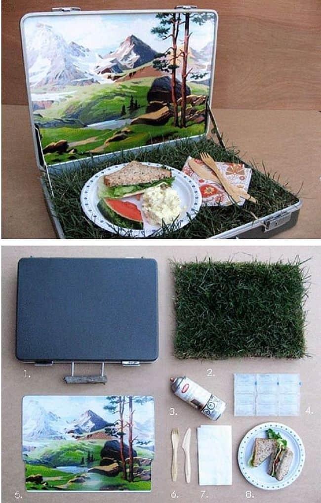 Lovely mountain vista picnic bag