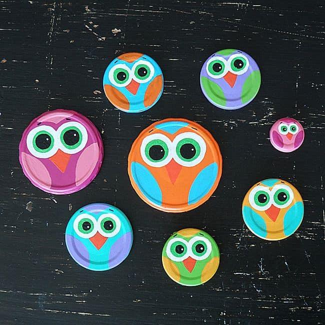 Mason jar lid owls