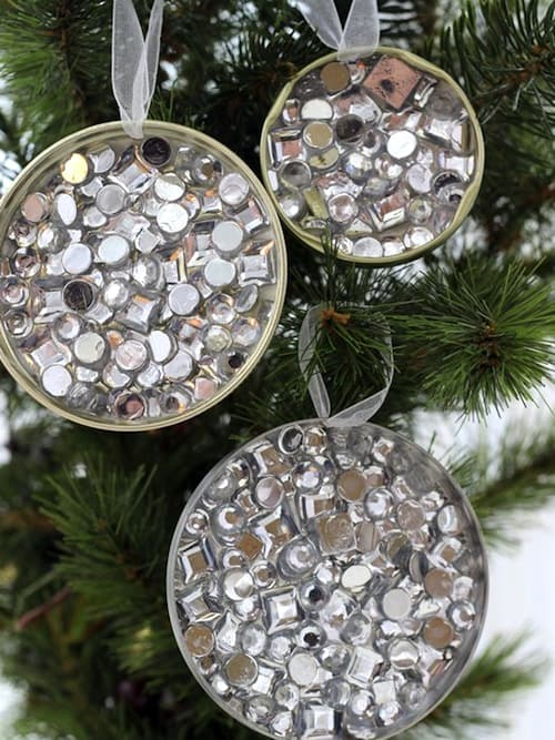 Mason jar lid rhinestone ornaments
