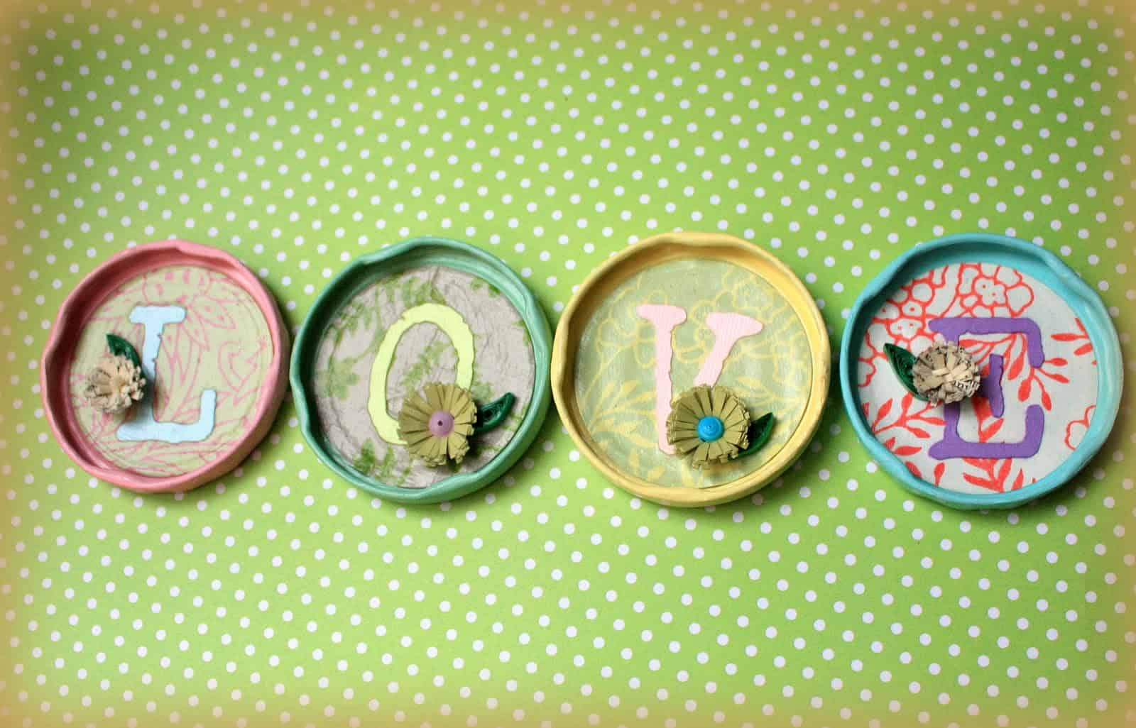 Mini collage jar lid collage scenes
