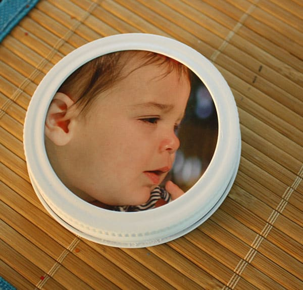 Mini mason jar lid picture frames
