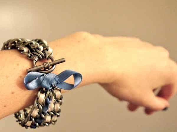 Multi-chain and ribbon bracelet