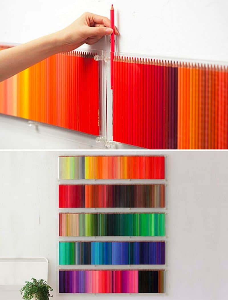 Multicolored pencil wall hanging