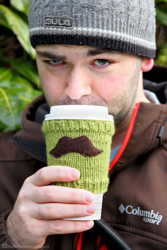 Mustache cup cozy