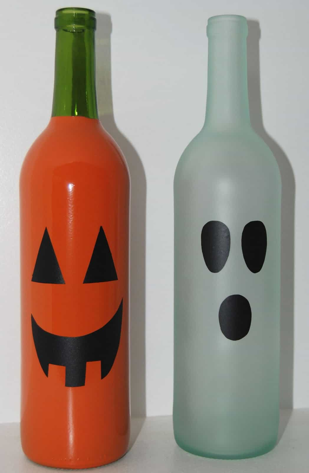 Painted Halloween wine botle decor