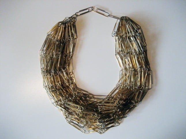 Paper clip statement necklace
