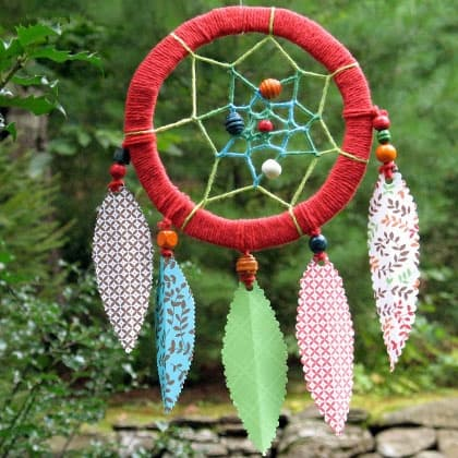 Paper feather dream catcher