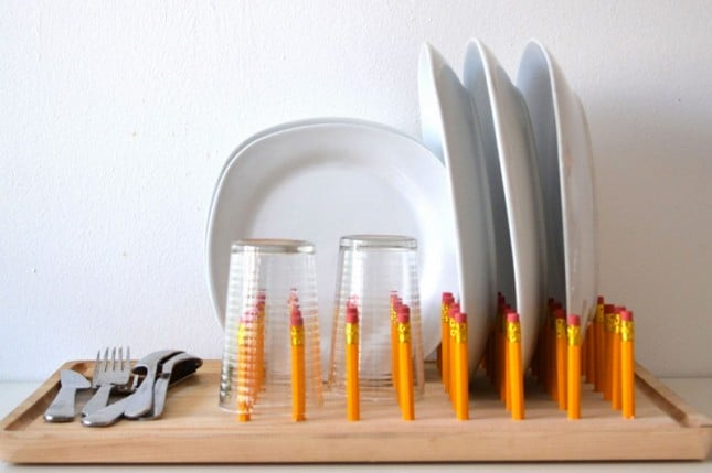 Pencil and cutting board dish rack