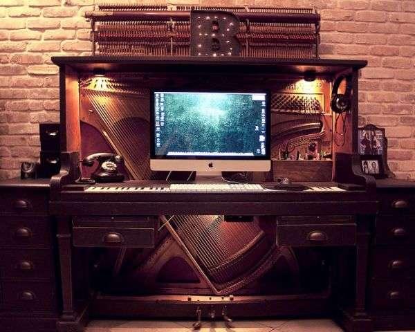 Piano computer desk