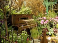 Piano garden waterfall 200x150 12 Creative Ways to Repurpose Piano Parts