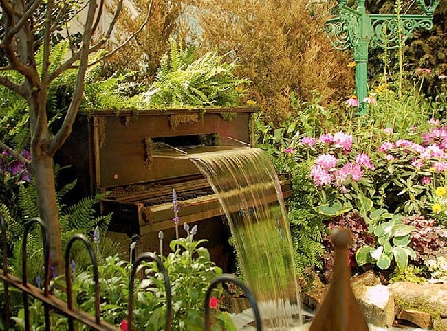 Piano garden waterfall