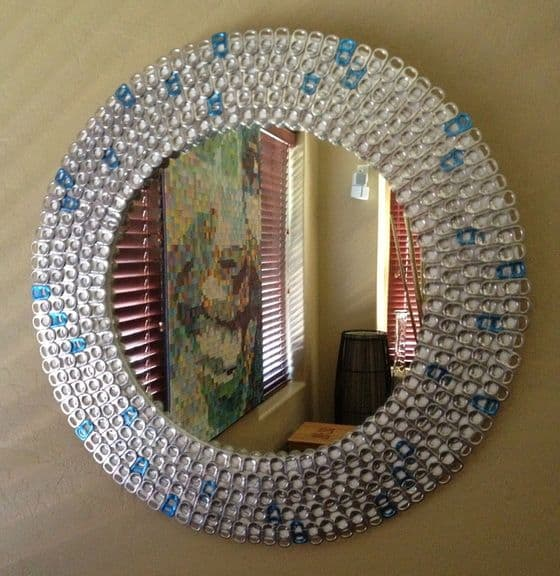 Pop tab mirror frame