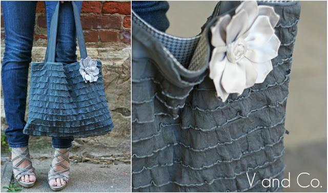 Ruffled fabric tote purse