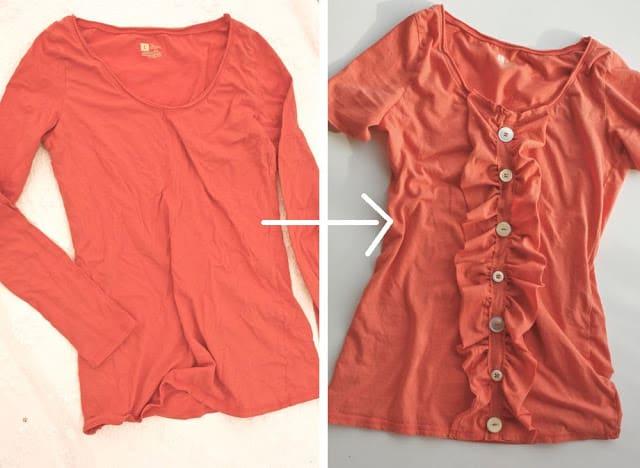 Ruffled shirt refashioning