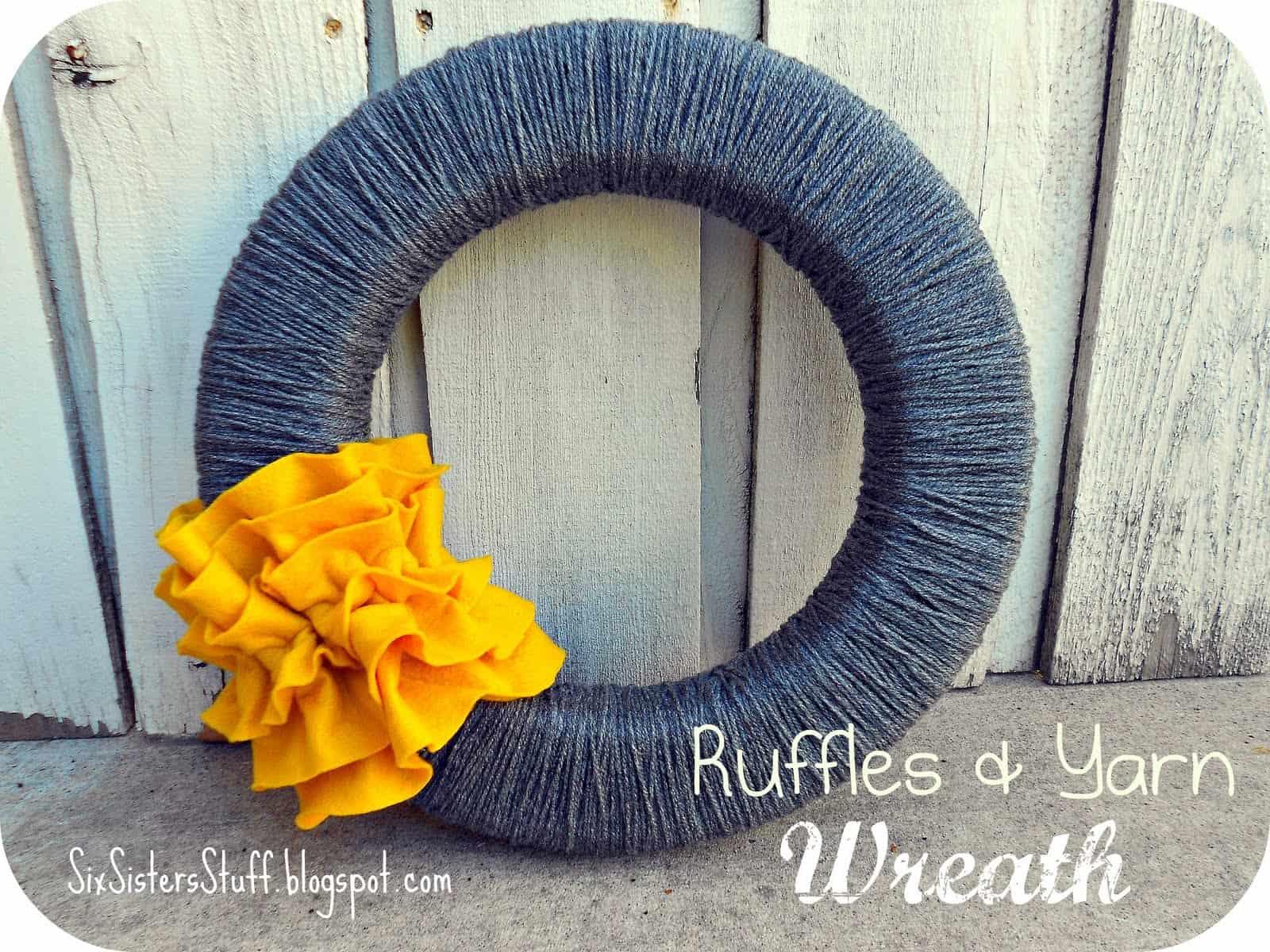 Ruffles and yarn fall wreath
