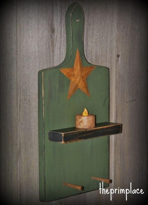 Rustic cutting board wall hanging