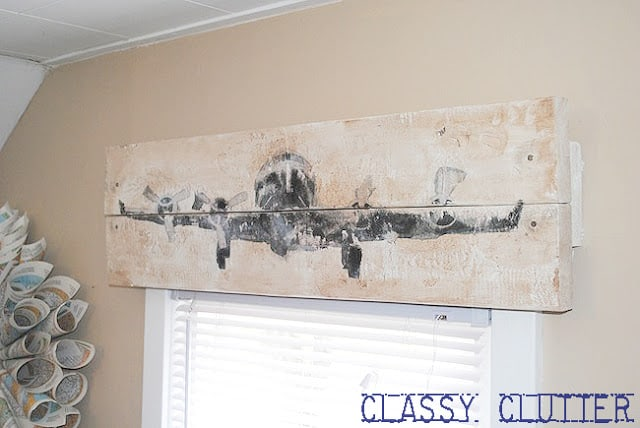 Rustic wooden photo transfer valance