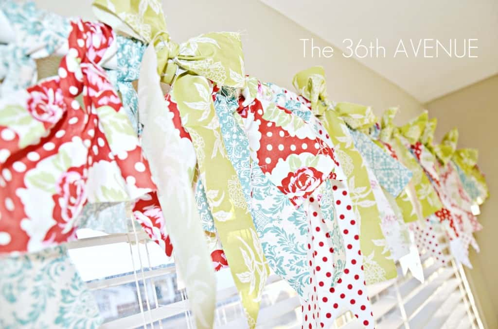 Scrap fabric strips and bright bows