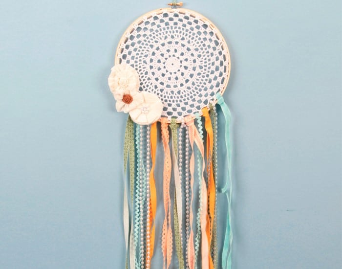 Shabby chic doily and ribbon dream catcher