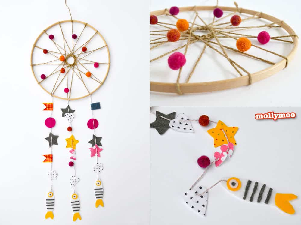 Shapes and embroidery hoop dream catcher