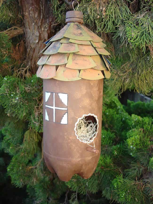 Soda bottle birdhouse