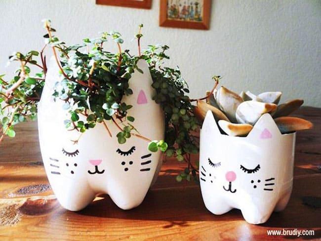 Soda bottle cat planter
