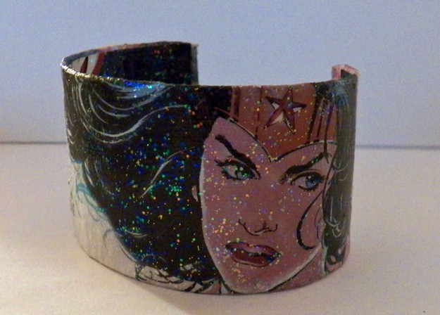 Sparkled decoupaged comic book bangle
