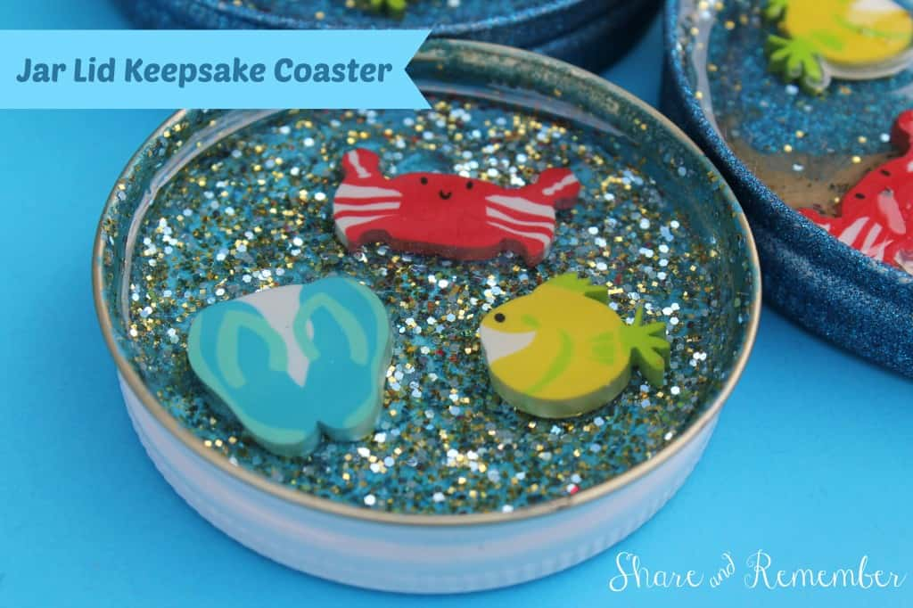 Sparkly jar lid keepsake coasters