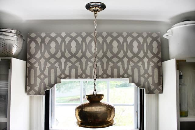 Stenciled, shaped wooden valance
