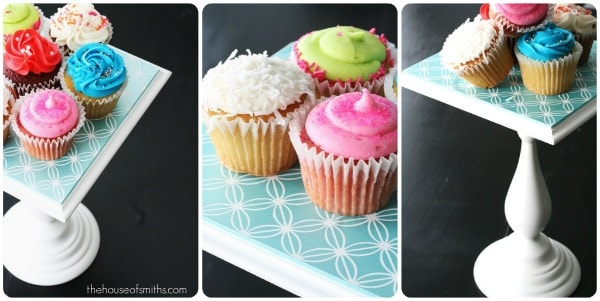 Stencilled cupcake stand