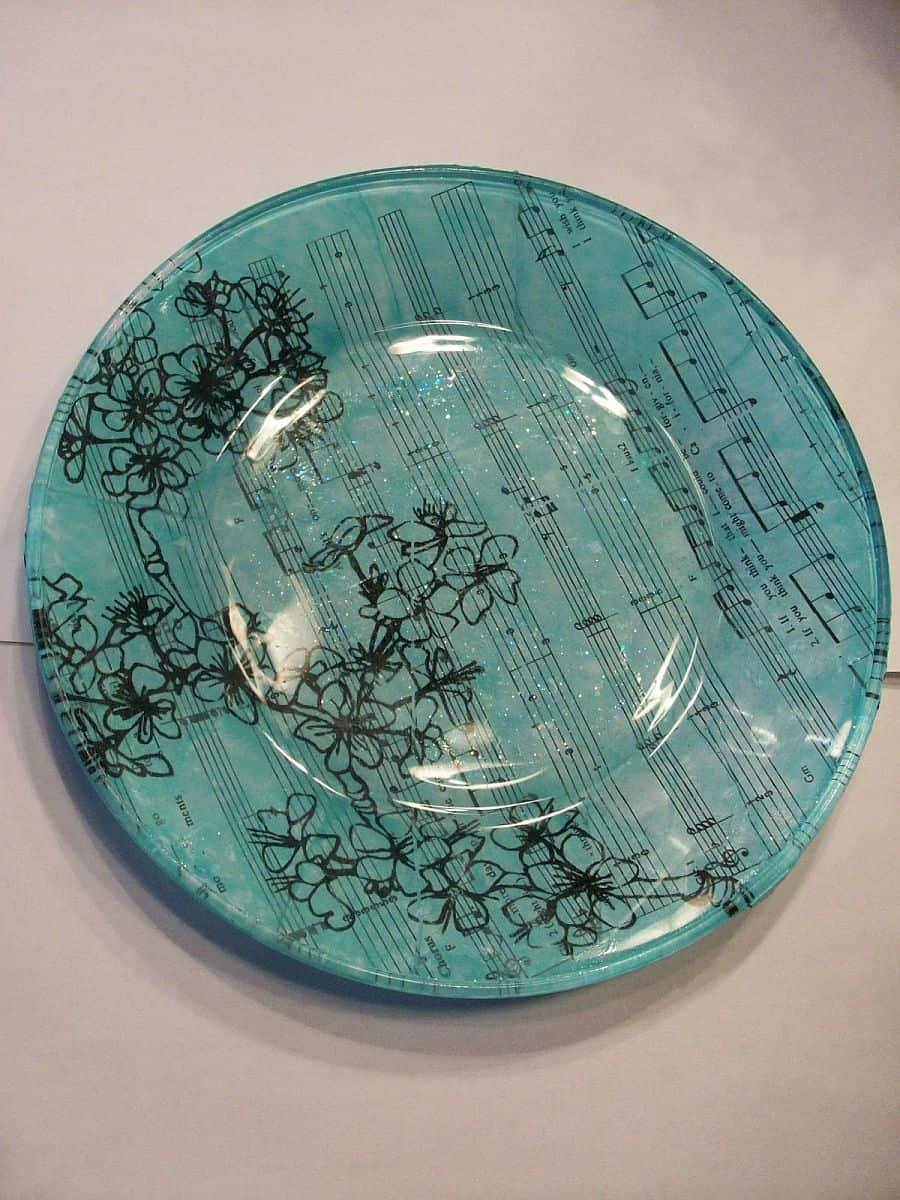 Stylish sheet music on a glass plate