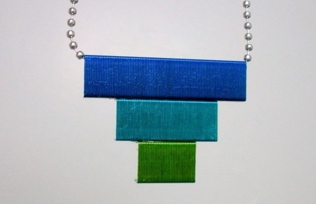 Tiered coloured staple pendant