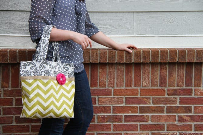 Two-toned fabric tote