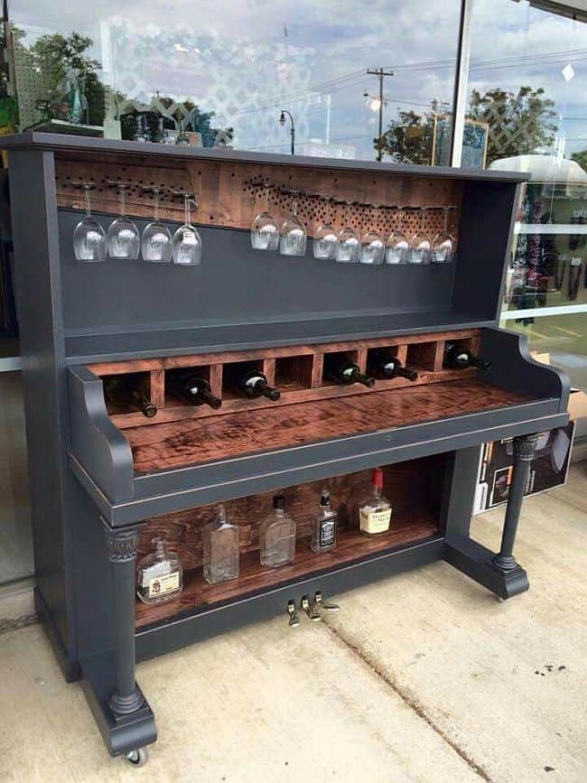 Upcycled piano mini bar