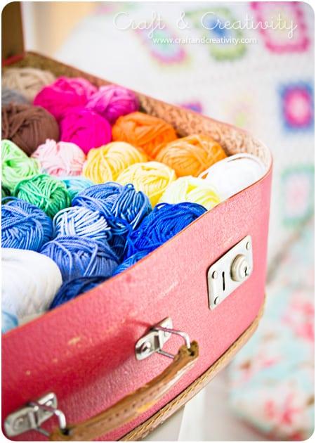 Vintage suitcase yarn storage