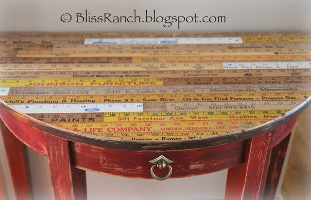 Vintage yardstick tabletop